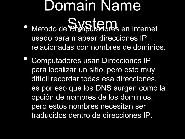 Domain Name System Metodo de Computadores en Internet usado para mapear direcciones IP relacionadas con nombres de dominios. Computadores usan Direcci