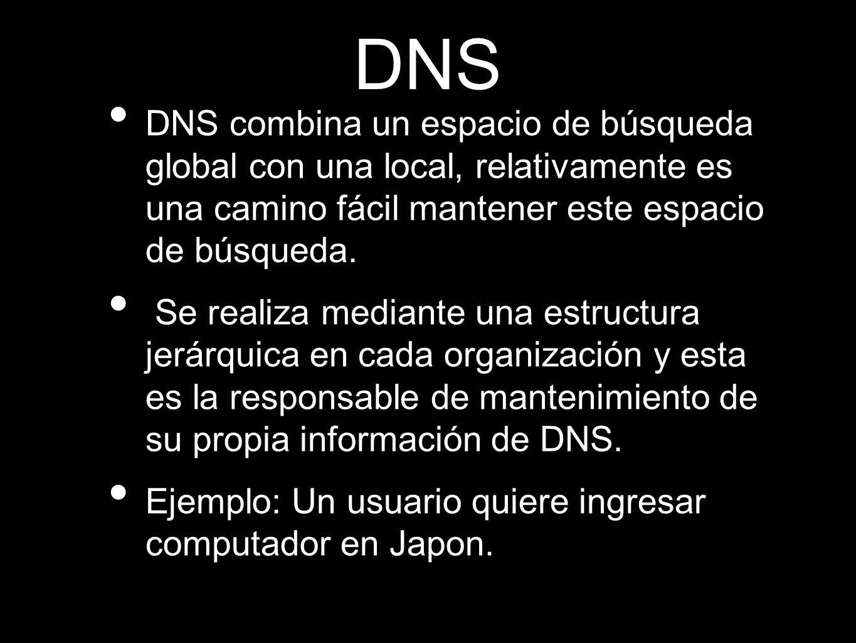 DNS DNS combina un espacio de búsqueda global con una local, relativamente es una camino fácil mantener este espacio de búsqueda. Se realiza mediante
