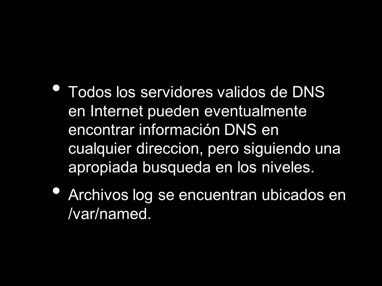 Todos los servidores validos de DNS en Internet pueden eventualmente encontrar información DNS en cualquier direccion, pero siguiendo una apropiada bu