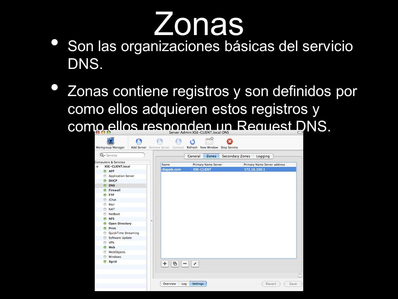 Zonas Son las organizaciones básicas del servicio DNS. Zonas contiene registros y son definidos por como ellos adquieren estos registros y como ellos