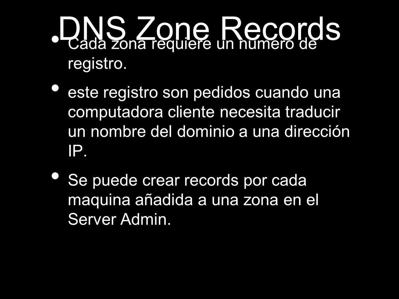 DNS Zone Records Cada zona requiere un numero de registro. este registro son pedidos cuando una computadora cliente necesita traducir un nombre del do