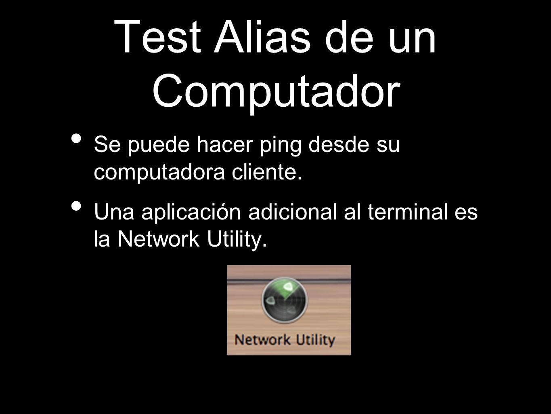 Test Alias de un Computador Se puede hacer ping desde su computadora cliente. Una aplicación adicional al terminal es la Network Utility.