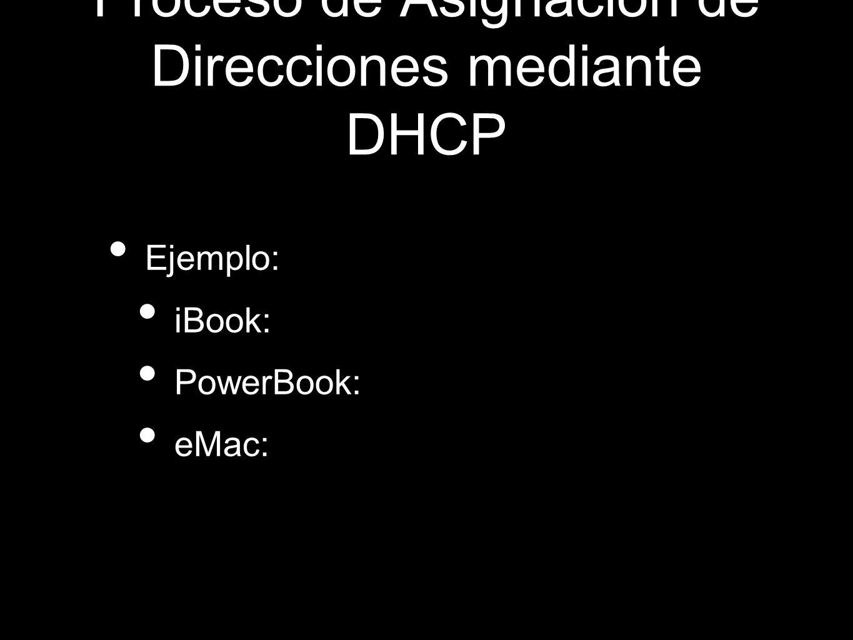 Proceso de Asignación de Direcciones mediante DHCP Ejemplo: iBook: PowerBook: eMac: