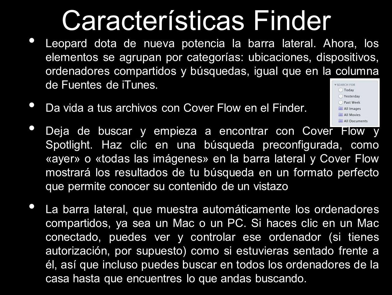Características Finder Leopard dota de nueva potencia la barra lateral. Ahora, los elementos se agrupan por categorías: ubicaciones, dispositivos, ord