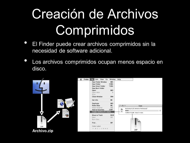 Creación de Archivos Comprimidos El Finder puede crear archivos comprimidos sin la necesidad de software adicional. Los archivos comprimidos ocupan me