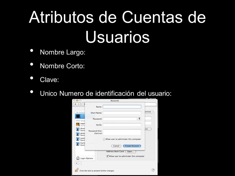 Atributos de Cuentas de Usuarios Nombre Largo: Nombre Corto: Clave: Unico Numero de identificación del usuario: