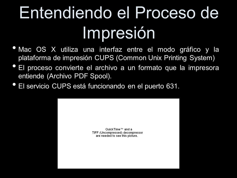 Entendiendo el Proceso de Impresión Mac OS X utiliza una interfaz entre el modo gráfico y la plataforma de impresión CUPS (Common Unix Printing System) El proceso convierte el archivo a un formato que la impresora entiende (Archivo PDF Spool).