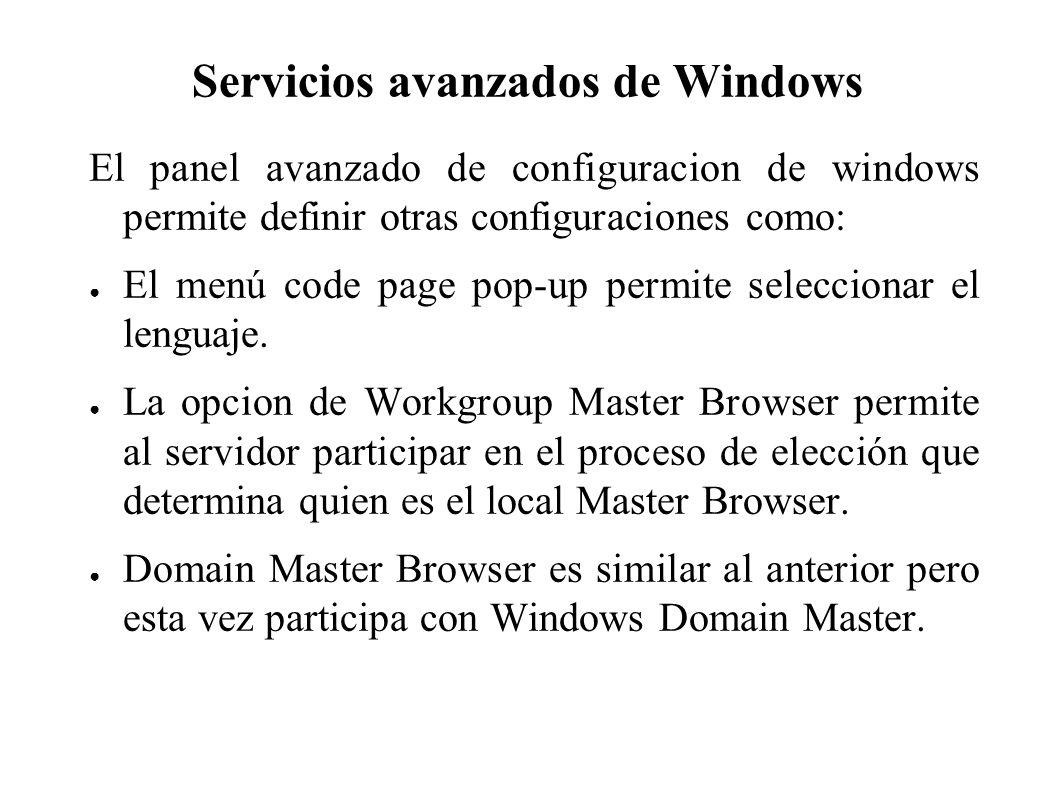 Servicios avanzados de Windows El panel avanzado de configuracion de windows permite definir otras configuraciones como: El menú code page pop-up permite seleccionar el lenguaje.