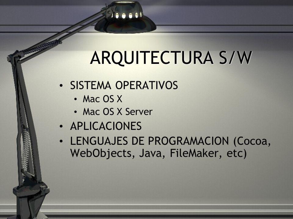 ARQUITECTURA S/W SISTEMA OPERATIVOS Mac OS X Mac OS X Server APLICACIONES LENGUAJES DE PROGRAMACION (Cocoa, WebObjects, Java, FileMaker, etc)