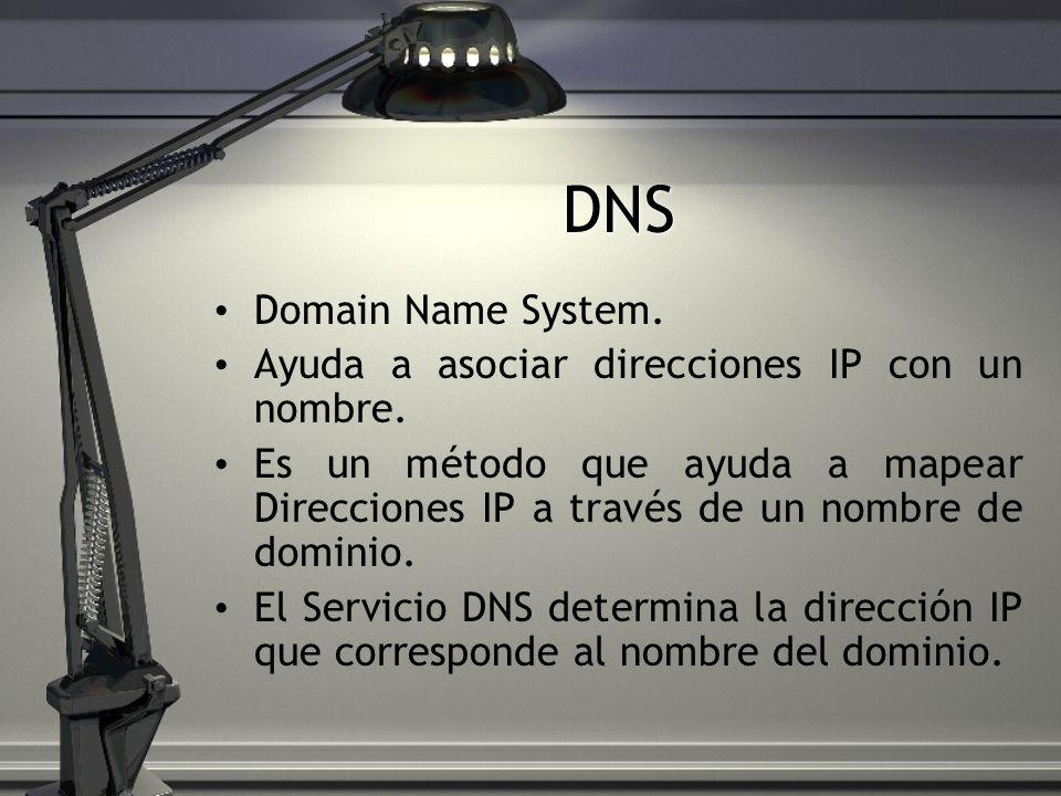 DNS Domain Name System. Ayuda a asociar direcciones IP con un nombre. Es un método que ayuda a mapear Direcciones IP a través de un nombre de dominio.