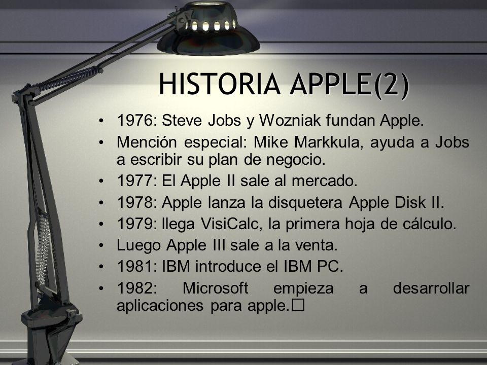 HISTORIA APPLE(2) 1976: Steve Jobs y Wozniak fundan Apple. Mención especial: Mike Markkula, ayuda a Jobs a escribir su plan de negocio. 1977: El Apple
