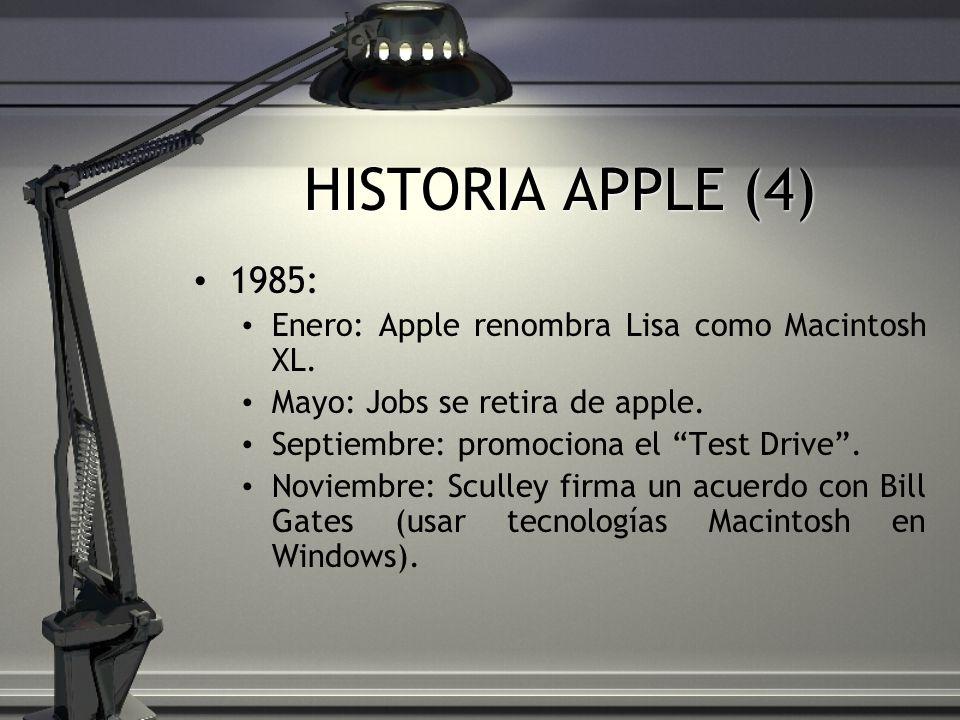 HISTORIA APPLE (4) 1985: Enero: Apple renombra Lisa como Macintosh XL. Mayo: Jobs se retira de apple. Septiembre: promociona el Test Drive. Noviembre: