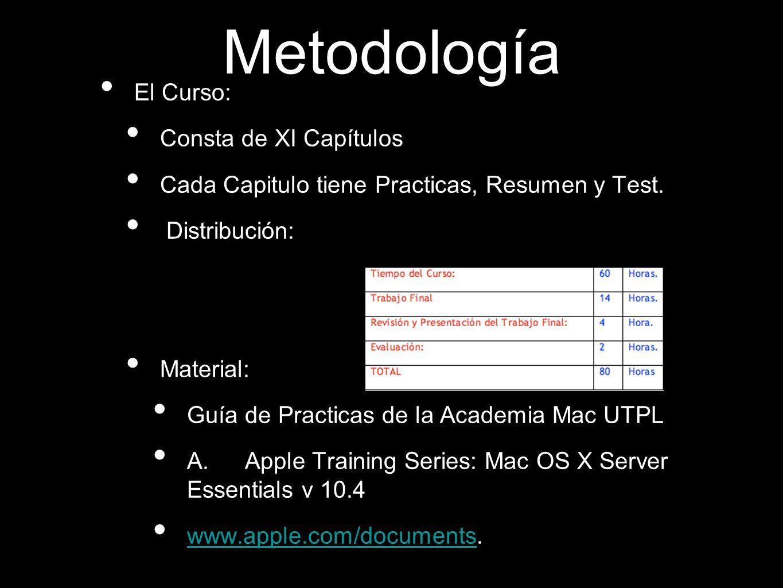 Metodología El Curso: Consta de XI Capítulos Cada Capitulo tiene Practicas, Resumen y Test. Distribución: Material: Guía de Practicas de la Academia M