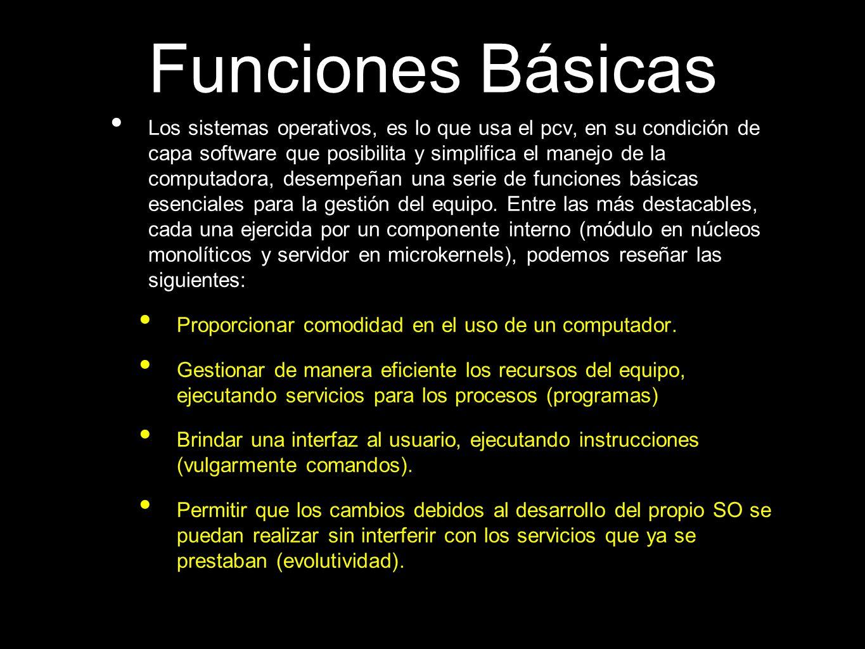 Funciones Básicas Los sistemas operativos, es lo que usa el pcv, en su condición de capa software que posibilita y simplifica el manejo de la computad