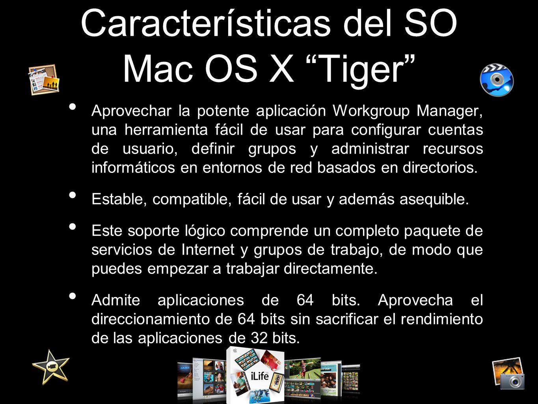 Características del SO Mac OS X Tiger Aprovechar la potente aplicación Workgroup Manager, una herramienta fácil de usar para configurar cuentas de usu
