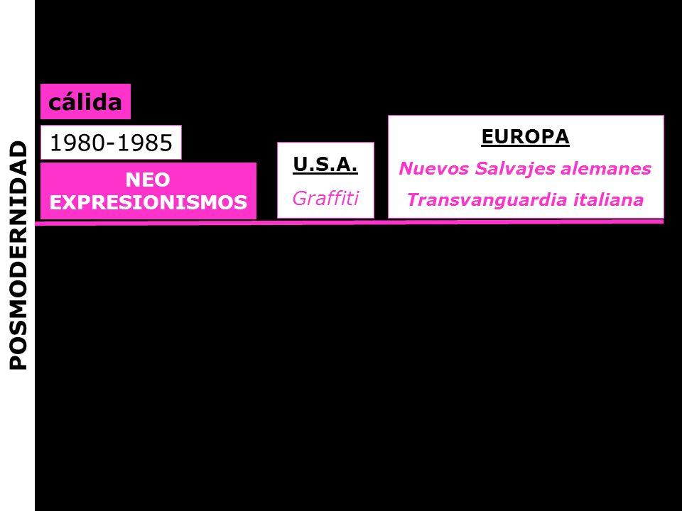 NEO EXPRESIONISMOS U.S.A. Graffiti EUROPA Nuevos Salvajes alemanes Transvanguardia italiana 1980-1985 cálida POSMODERNIDAD