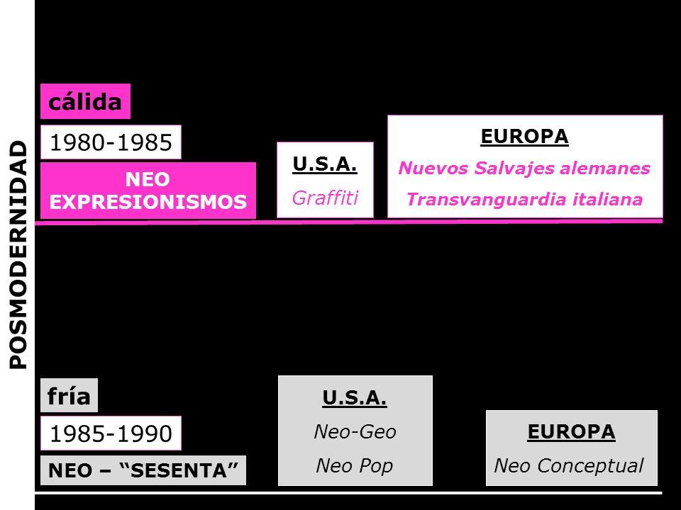 NEO EXPRESIONISMOS U.S.A. Graffiti EUROPA Nuevos Salvajes alemanes Transvanguardia italiana 1980-1985 cálida 1985-1990 NEO – SESENTA fría EUROPA Neo C