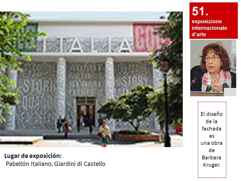 El diseño de la fachada es una obra de Barbara Kruger. Lugar de exposición: Pabellón Italiano, Giardini di Castello