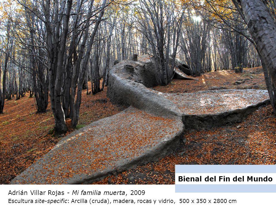 Adrián Villar Rojas - Mi familia muerta, 2009 Escultura site-specific: Arcilla (cruda), madera, rocas y vidrio, 500 x 350 x 2800 cm Bienal del Fin del