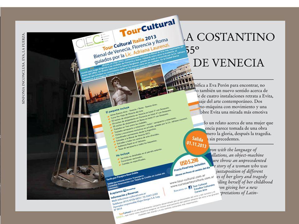 55 Bienal de Venecia 1 de junio al 24 de noviembre de 2013 Título: «El palacio enciclopédico» Curador: Massimiliano Gioni (Italia 1973) 156 artistas,