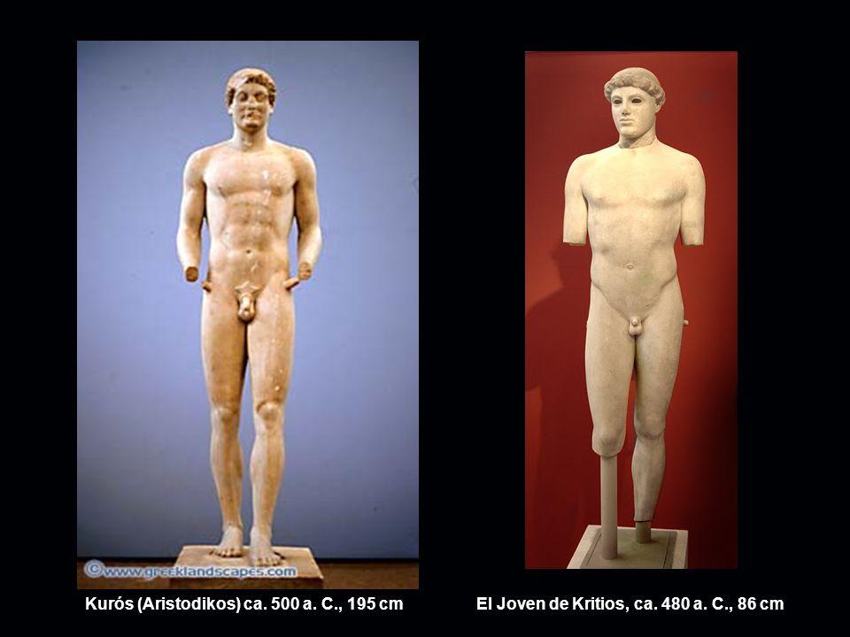 Kurós (Aristodikos) ca. 500 a. C., 195 cmEl Joven de Kritios, ca. 480 a. C., 86 cm