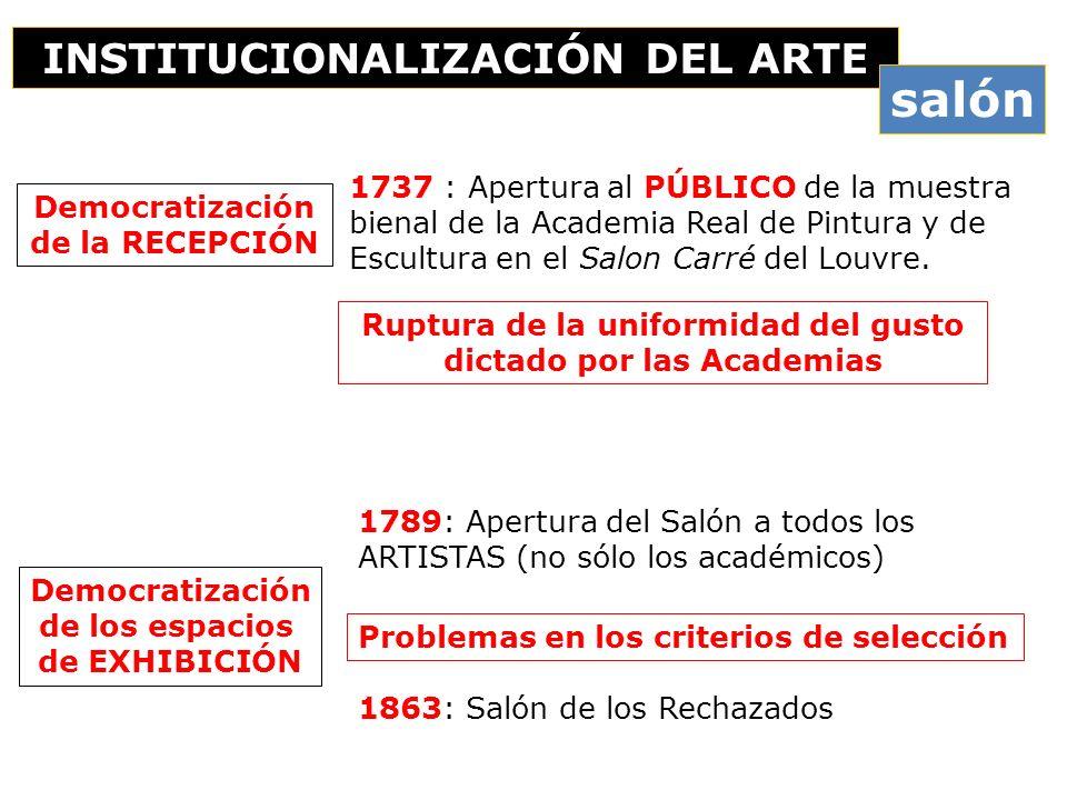 1737 : Apertura al PÚBLICO de la muestra bienal de la Academia Real de Pintura y de Escultura en el Salon Carré del Louvre. INSTITUCIONALIZACIÓN DEL A