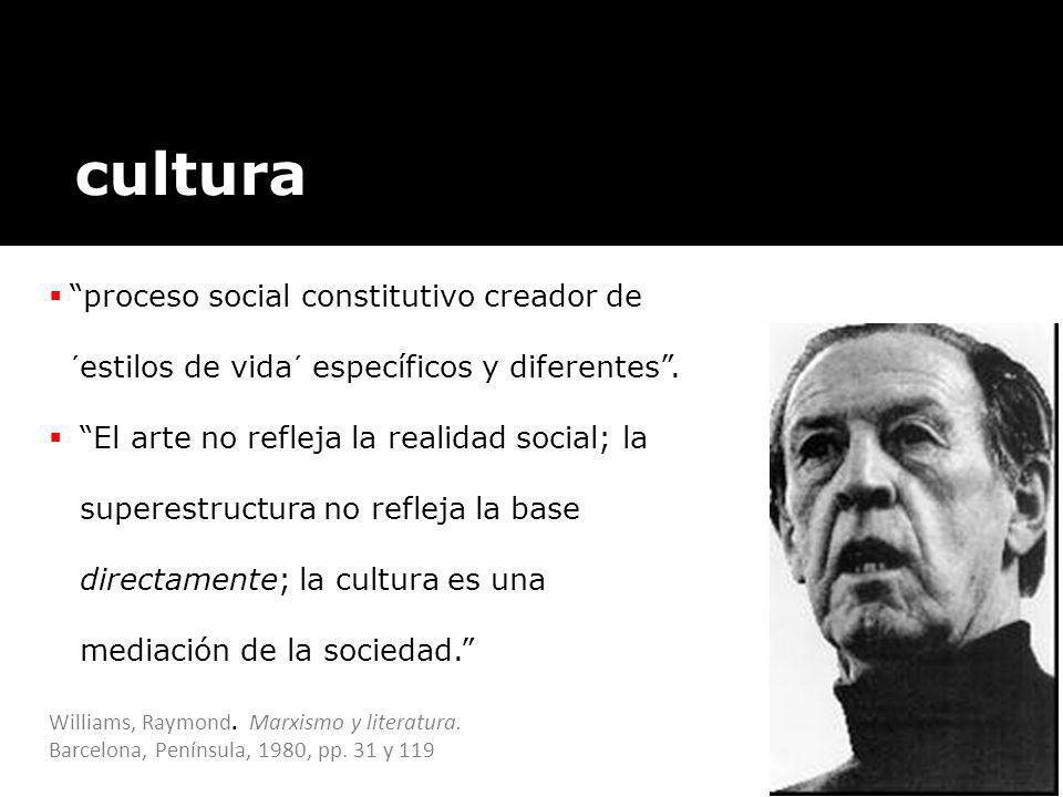 cultura proceso social constitutivo creador de ´estilos de vida´ específicos y diferentes. El arte no refleja la realidad social; la superestructura n