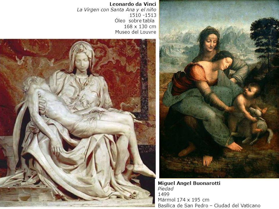 Leonardo Mona Lisa 1503-6 Óleo sobre tabla 77 x 53 cm Museo del Louvre Leonardo da Vinci La Virgen con Santa Ana y el niño 1510 -1513 Óleo sobre tabla