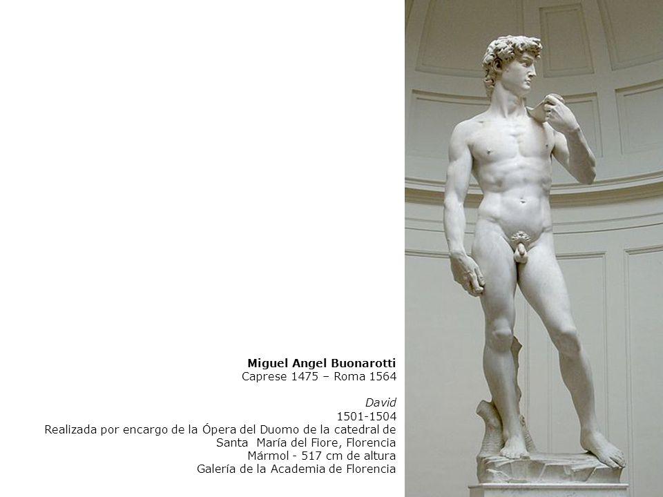 Miguel Angel Buonarotti Caprese 1475 – Roma 1564 David 1501-1504 Realizada por encargo de la Ópera del Duomo de la catedral de Santa María del Fiore,