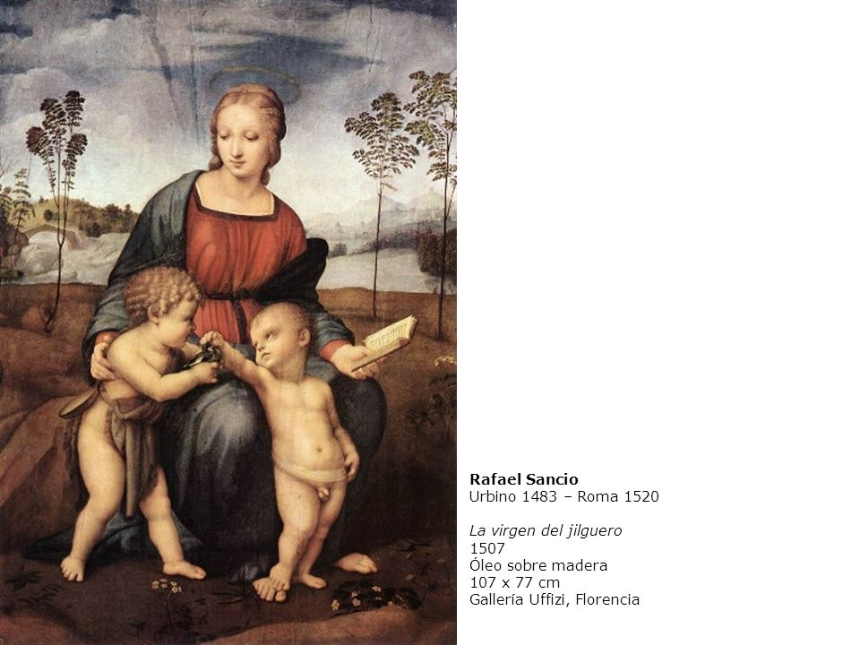 Rafael Sancio Urbino 1483 – Roma 1520 La virgen del jilguero 1507 Óleo sobre madera 107 x 77 cm Gallería Uffizi, Florencia