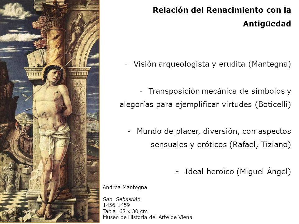 Andrea Mantegna San Sebastián 1456-1459 Tabla 68 x 30 cm Museo de Historia del Arte de Viena Relación del Renacimiento con la Antigüedad -Visión arque