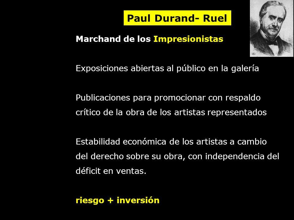 Marchand de los Impresionistas Exposiciones abiertas al público en la galería Publicaciones para promocionar con respaldo crítico de la obra de los ar