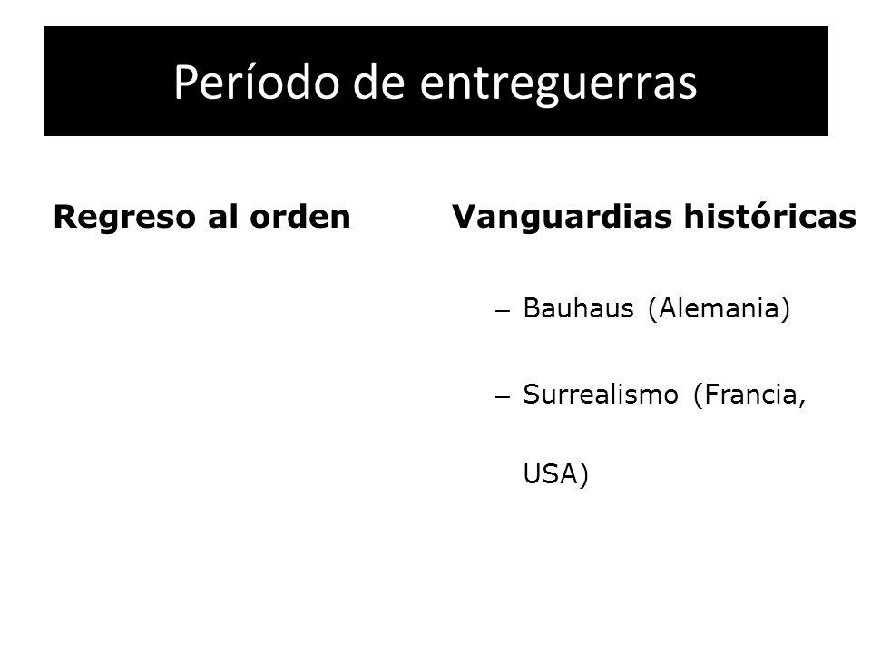 Período de entreguerras Regreso al ordenVanguardias históricas – Bauhaus (Alemania) – Surrealismo (Francia, USA)