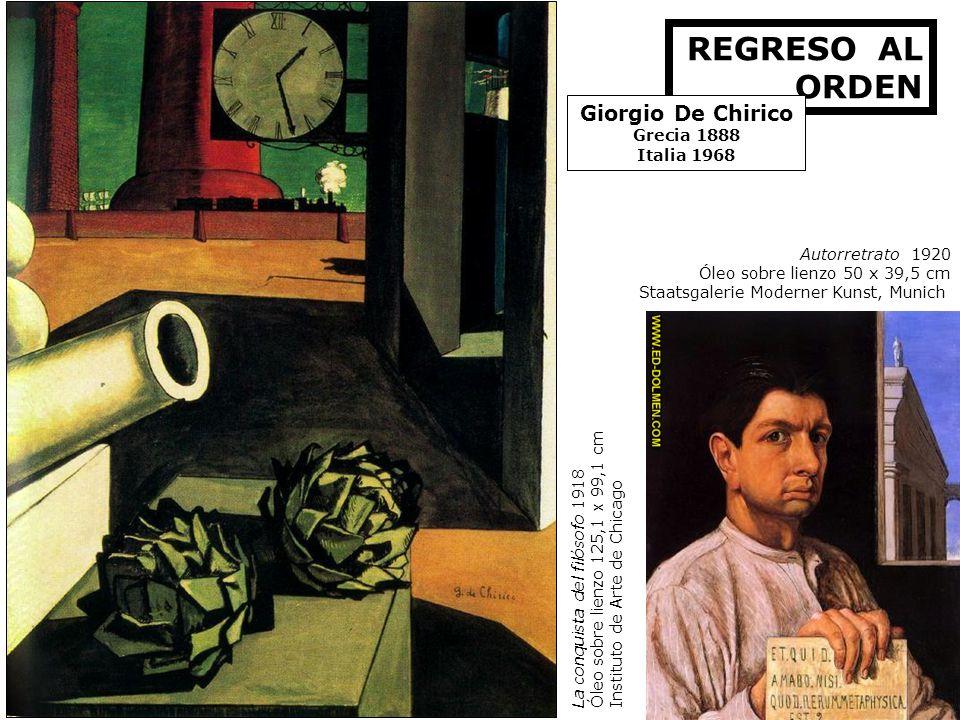 Autorretrato 1920 Óleo sobre lienzo 50 x 39,5 cm Staatsgalerie Moderner Kunst, Munich REGRESO AL ORDEN Giorgio De Chirico Grecia 1888 Italia 1968 La c