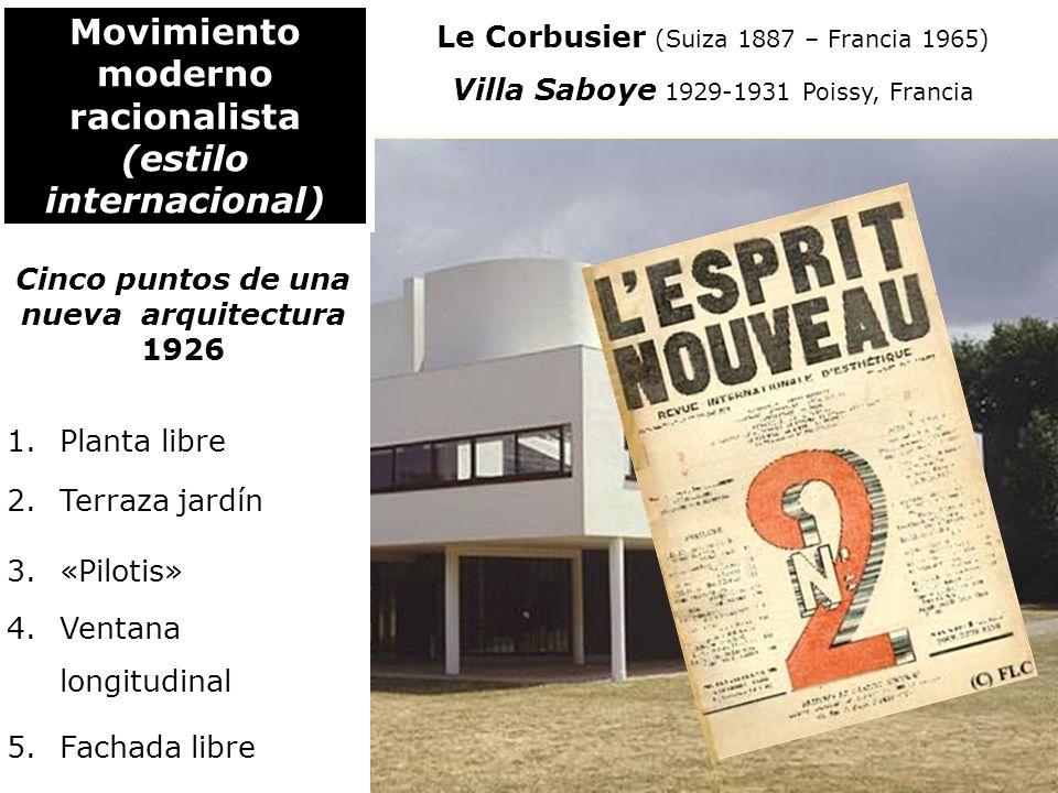 Le Corbusier (Suiza 1887 – Francia 1965) Villa Saboye 1929-1931 Poissy, Francia Movimiento moderno racionalista (estilo internacional) Cinco puntos de