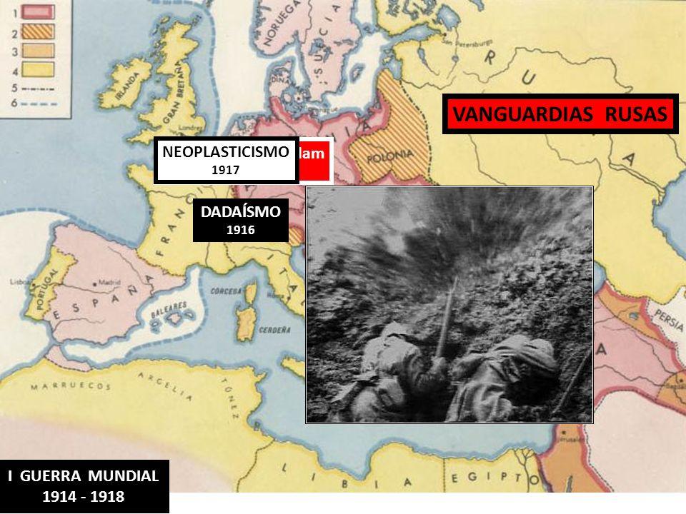 DADAÍSMO 1916 VANGUARDIAS RUSAS Escuela de Amsterdam 1912-18 NEOPLASTICISMO 1917 I GUERRA MUNDIAL 1914 - 1918