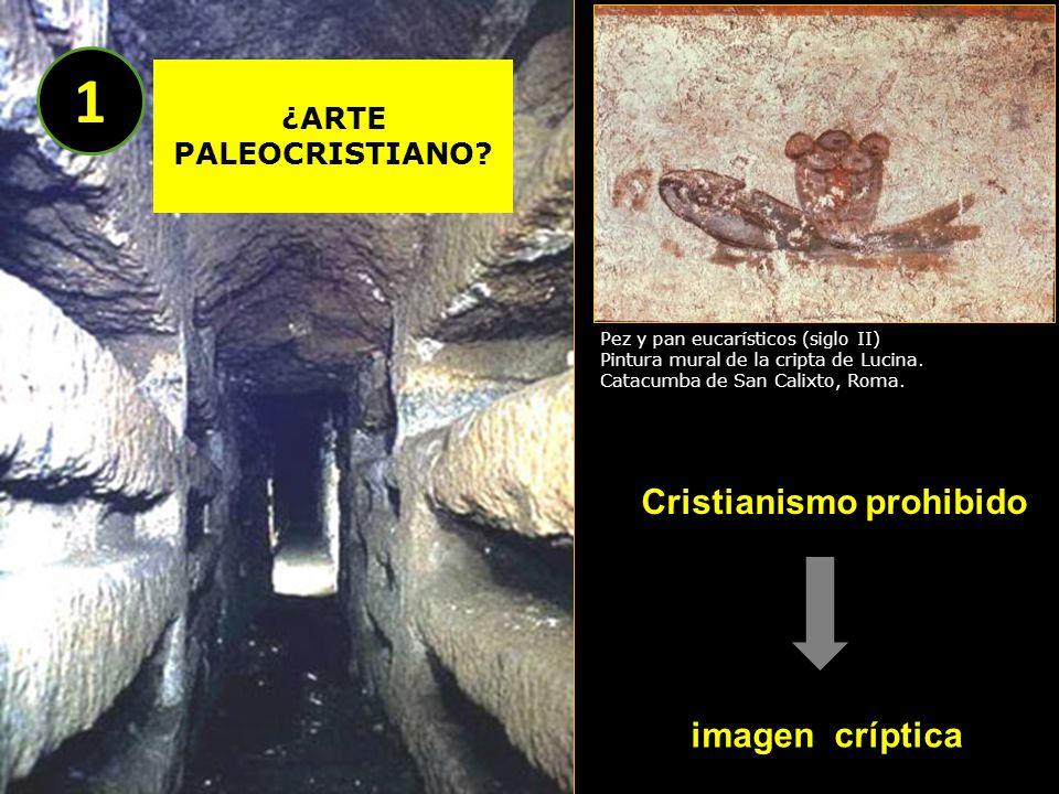 Cristianismo prohibido imagen críptica Pez y pan eucarísticos (siglo II) Pintura mural de la cripta de Lucina. Catacumba de San Calixto, Roma. ¿ARTE P