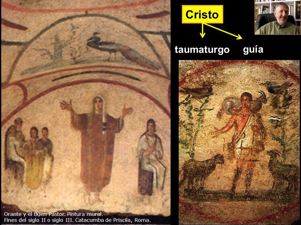 Cristo guía taumaturgo Orante y el Buen Pastor. Pintura mural. Fines del siglo II o siglo III. Catacumba de Priscila, Roma.