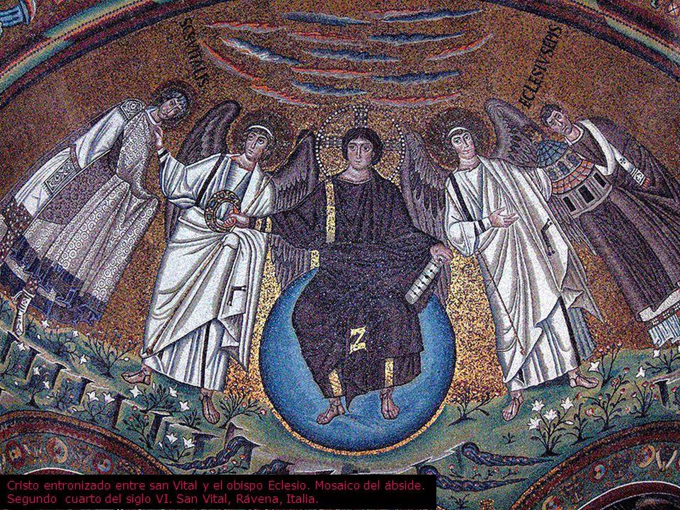 Cristo entronizado entre san Vital y el obispo Eclesio. Mosaico del ábside. Segundo cuarto del siglo VI. San Vital, Rávena, Italia.