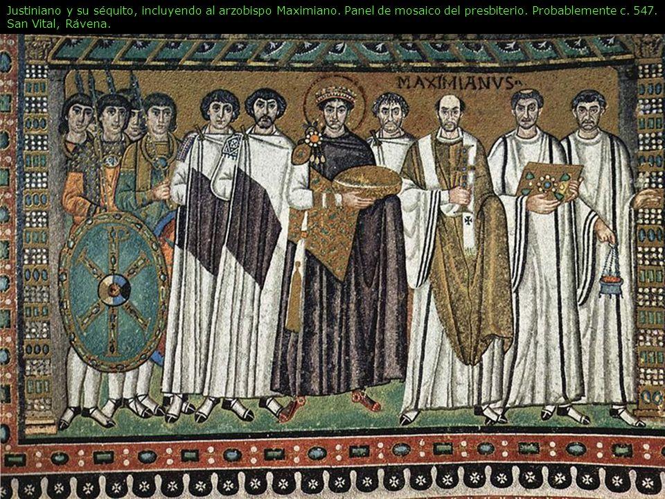 Justiniano y su séquito, incluyendo al arzobispo Maximiano. Panel de mosaico del presbiterio. Probablemente c. 547. San Vital, Rávena.