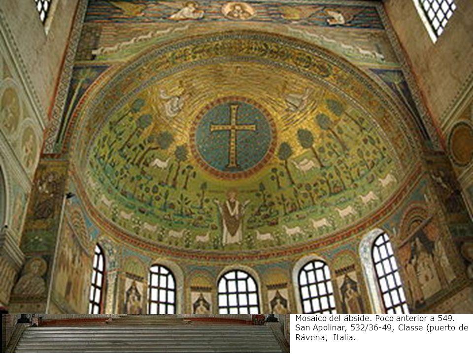 San Apolinar en oración entre símbolos de los apóstoles y la Transfiguración. Mosaico del ábside. Poco anterior a 549. San Apolinar, 532/36-49, Classe