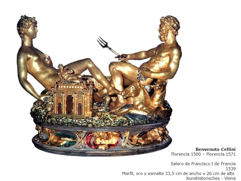 Benvenuto Cellini Florencia 1500 – Florencia 1571 Salero de Francisco I de Francia 1539 Marfil, oro y esmalte 33,5 cm de ancho x 26 cm de alto Kunshistorisches - Viena