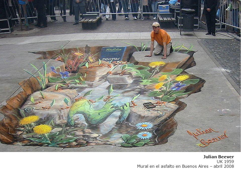 Julian Beever UK 1959 Mural en el asfalto en Buenos Aires – abril 2008