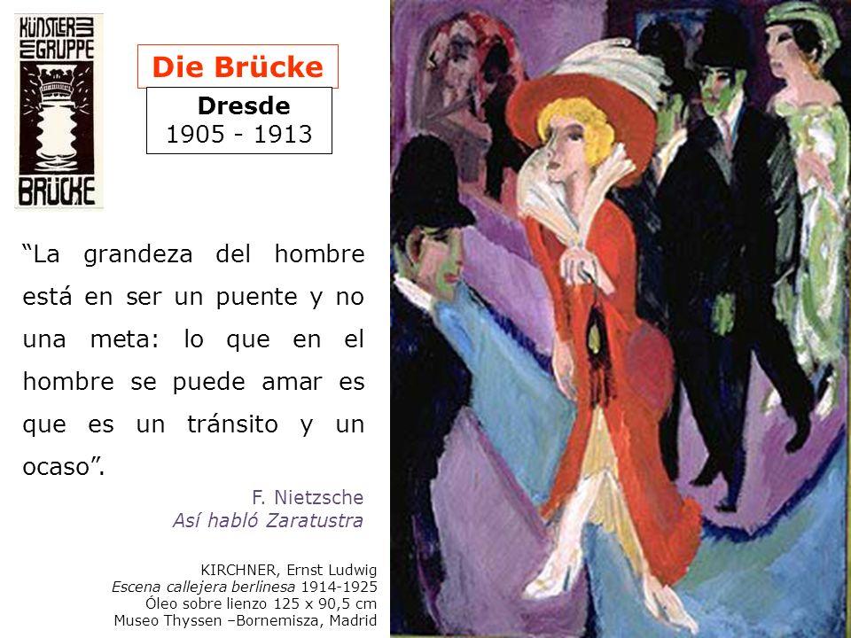 KIRCHNER, Ernst Ludwig Escena callejera berlinesa 1914-1925 Óleo sobre lienzo 125 x 90,5 cm Museo Thyssen –Bornemisza, Madrid Die Brücke Dresde 1905 -