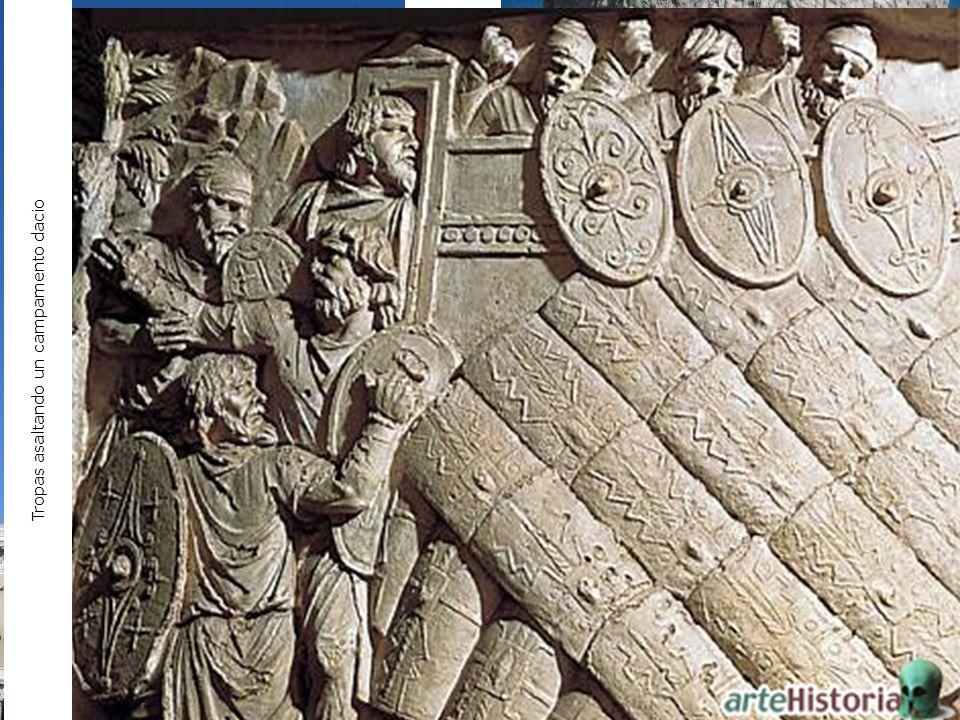 Columna de Trajano, 114 d.C., Roma. Tropas asaltando un campamento dacio