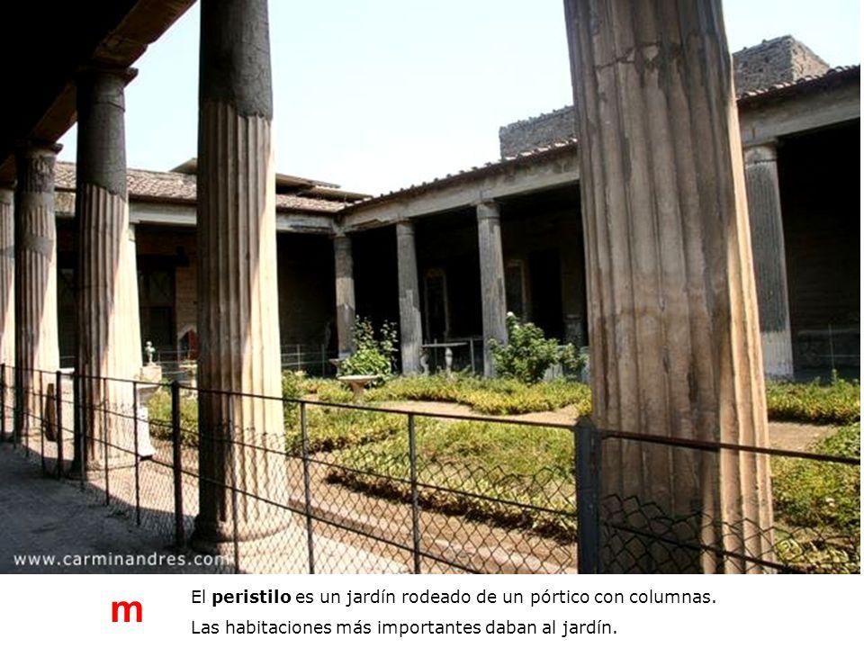 El peristilo es un jardín rodeado de un pórtico con columnas. Las habitaciones más importantes daban al jardín. m