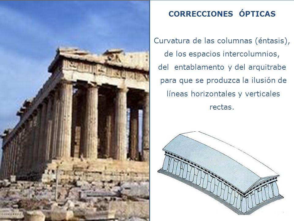 CORRECCIONES ÓPTICAS Curvatura de las columnas (éntasis), de los espacios intercolumnios, del entablamento y del arquitrabe para que se produzca la il