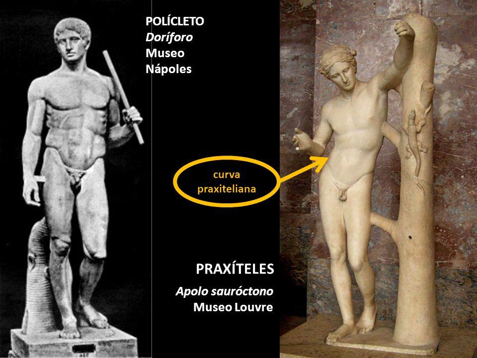 Apolo sauróctono Museo Louvre PRAXÍTELES POLÍCLETO Doríforo Museo Nápoles curva praxiteliana