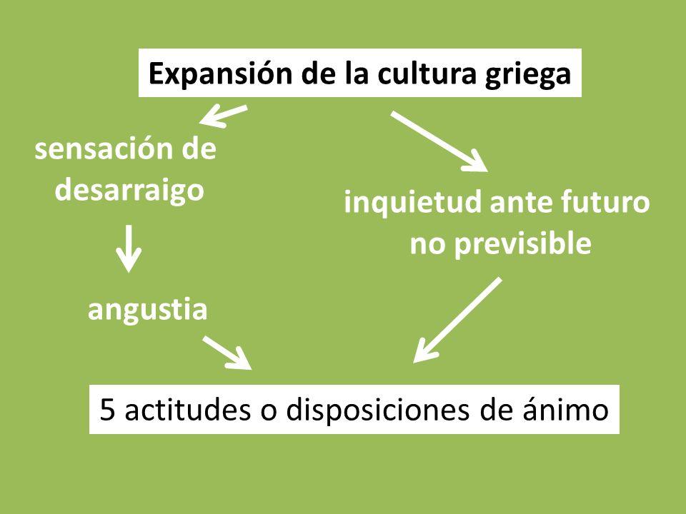 Expansión de la cultura griega sensación de desarraigo inquietud ante futuro no previsible angustia 5 actitudes o disposiciones de ánimo