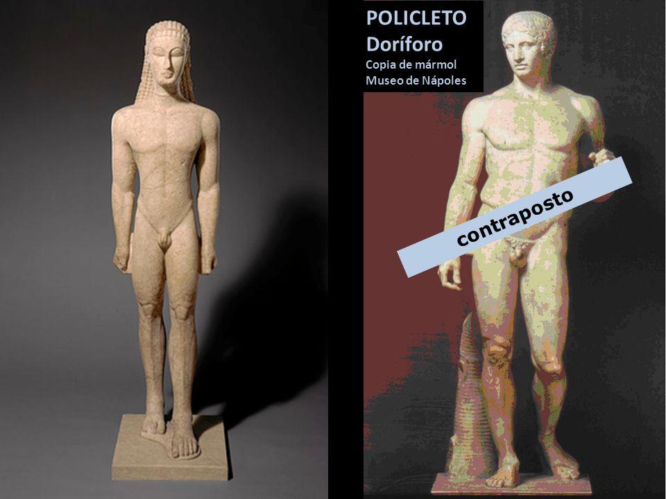 POLICLETO Doríforo Copia de mármol Museo de Nápoles contraposto